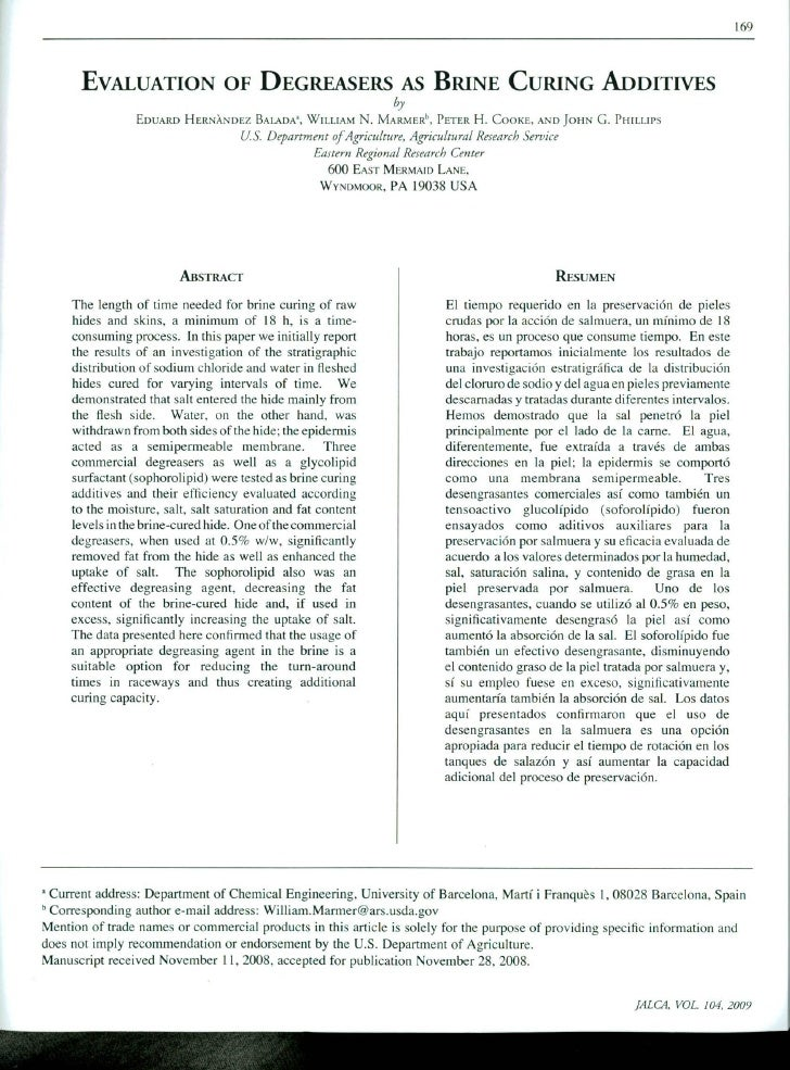 169       EVALUATION OF DEGREASERS AS BRINE CURING ADDITIVES                                                              ...