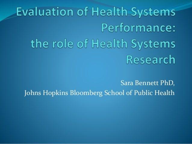 Sara Bennett PhD, Johns Hopkins Bloomberg School of Public Health