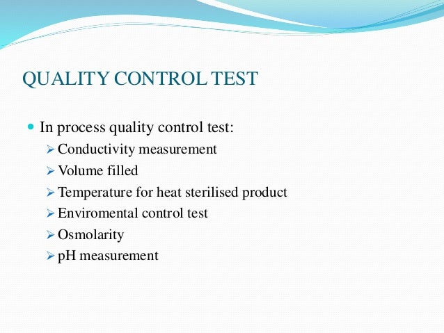 evaluation of parenterals 5 quality control test