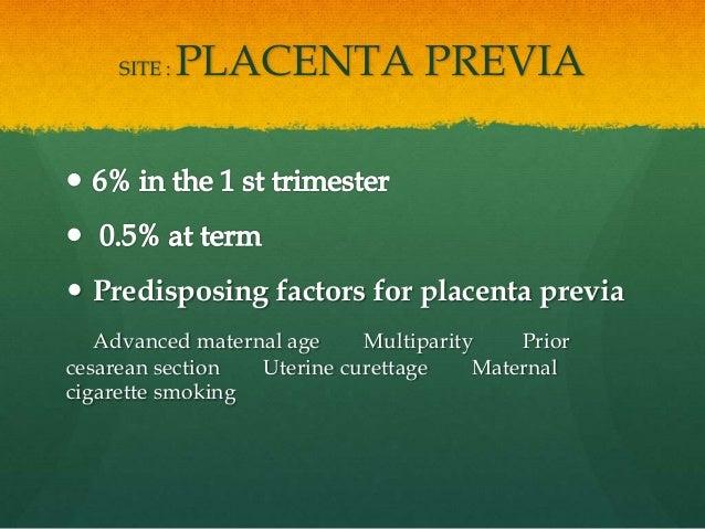 SITE : PLACENTA PREVIA  Predisposing factors for placenta previa Advanced maternal age Multiparity Prior cesarean section...