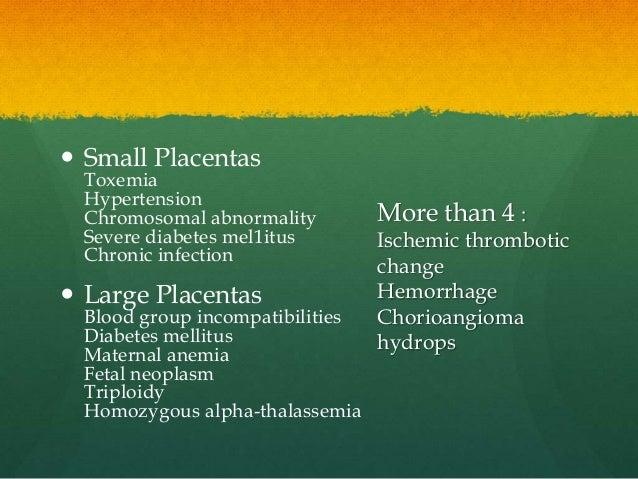  Small Placentas Toxemia Hypertension Chromosomal abnormality Severe diabetes mel1itus Chronic infection  Large Placenta...