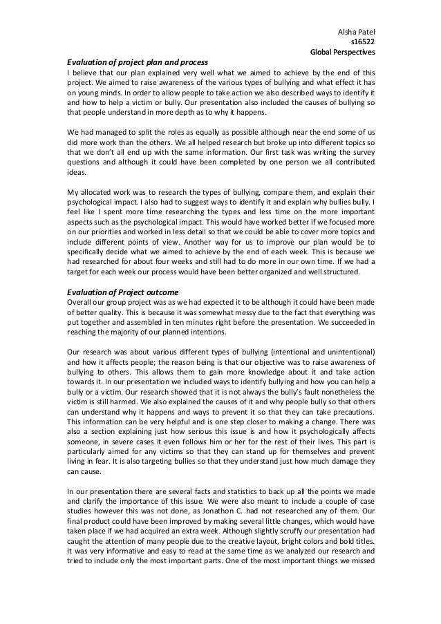 Alsha  Patel   s16522   Global  Perspectives    Evaluation  of  project  plan  and  process      I...