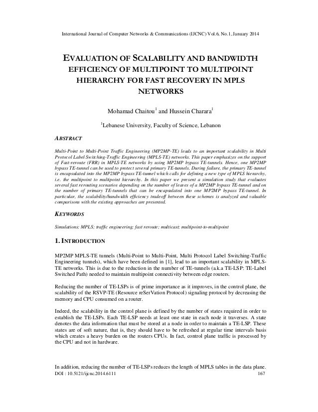 International Journal of Computer Networks & Communications (IJCNC) Vol.6, No.1, January 2014  EVALUATION OF SCALABILITY A...