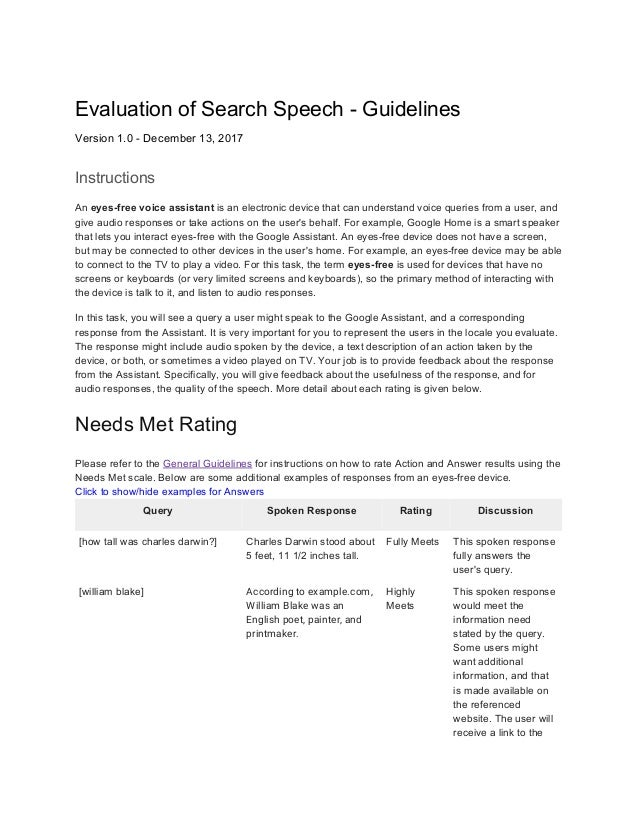 Evaluation of Search Speech - Guidelines Version 1.0 - December 13, 2017 Instructions An ​eyes-free voice assistant​ is an...