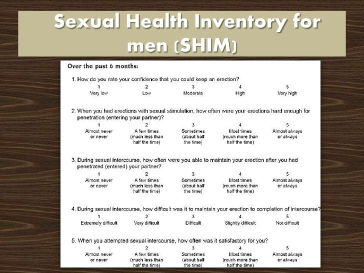 Sexual health inventory for men shim