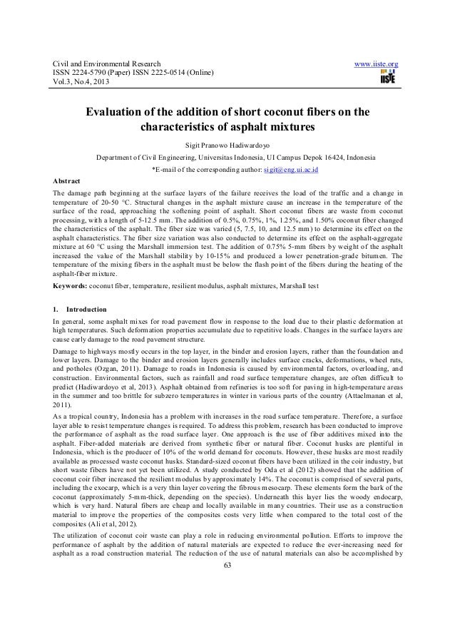 Civil and Environmental Research www.iiste.orgISSN 2224-5790 (Paper) ISSN 2225-0514 (Online)Vol.3, No.4, 201363Evaluation ...