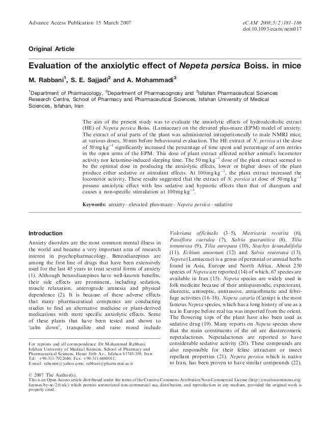 Advance Access Publication 15 March 2007  eCAM 2008;5(2)181–186 doi:10.1093/ecam/nem017  Original Article  Evaluation of t...