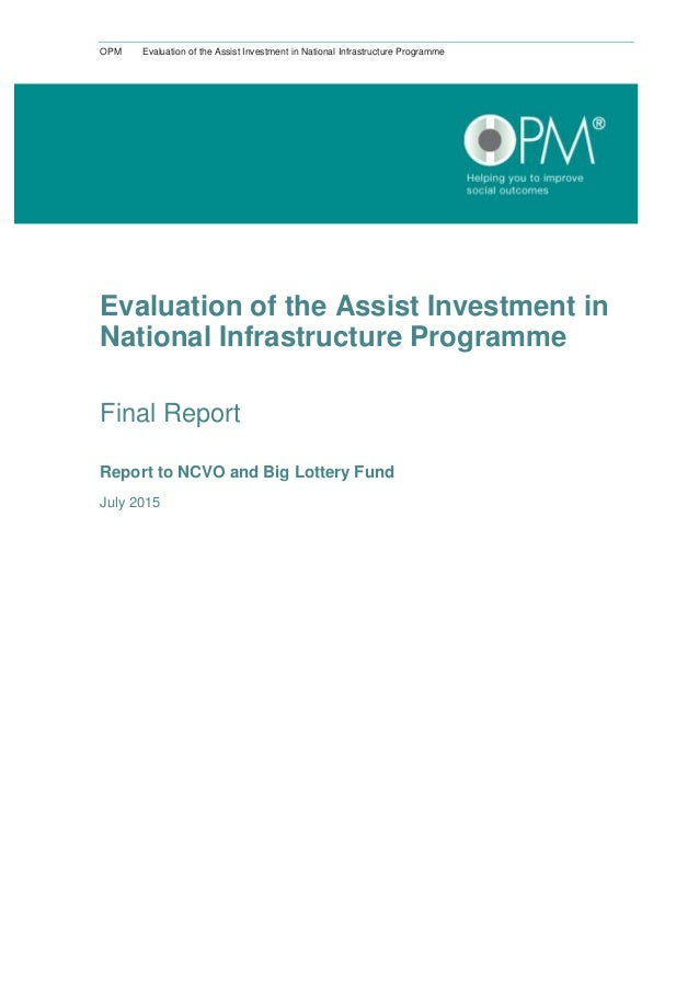 OPM Evaluation of the Assist Investment in National Infrastructure Programme Evaluation of the Assist Investment in Nation...