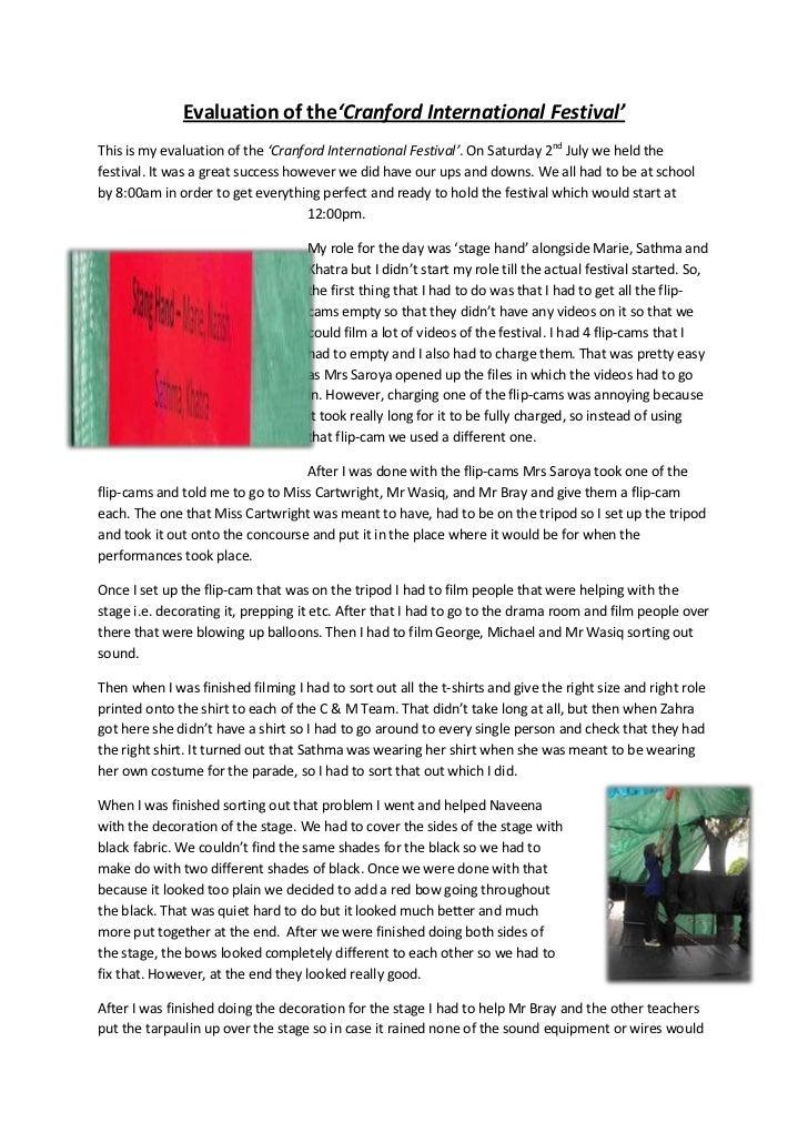 Evaluation of the'Cranford International Festival'<br />-10477574168000This is my evaluation of the 'Cranford Internationa...