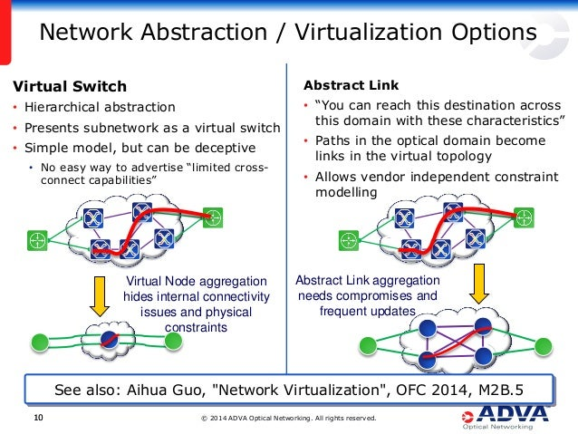 """© 2014 ADVA Optical Networking. All rights reserved.1010 Network Abstraction / Virtualization Options Abstract Link • """"You..."""