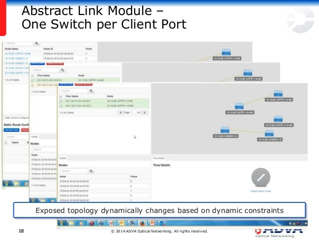 © 2014 ADVA Optical Networking. All rights reserved.1818 Abstract Link Module – One Switch per Client Port Exposed topolog...