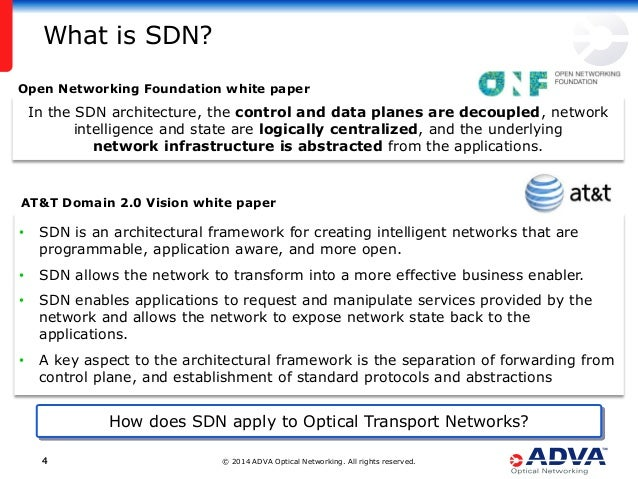 © 2014 ADVA Optical Networking. All rights reserved.44 What is SDN? Open Networking Foundation white paper In the SDN arch...