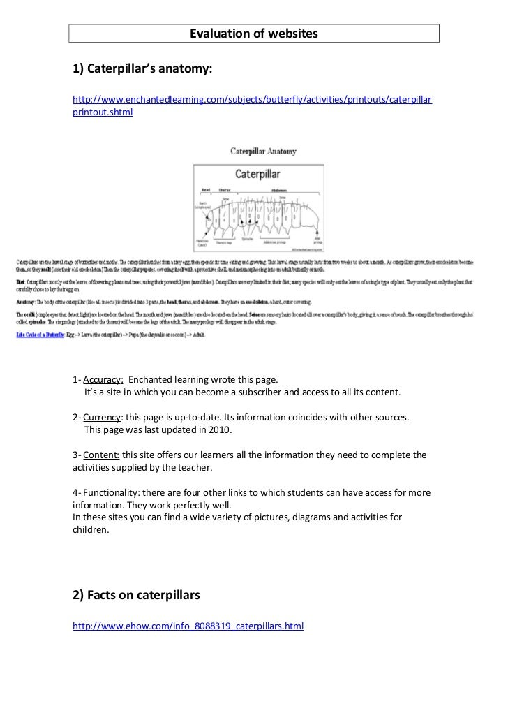 Evaluation of websites1) Caterpillar's anatomy:http://www.enchantedlearning.com/subjects/butterfly/activities/printouts/ca...