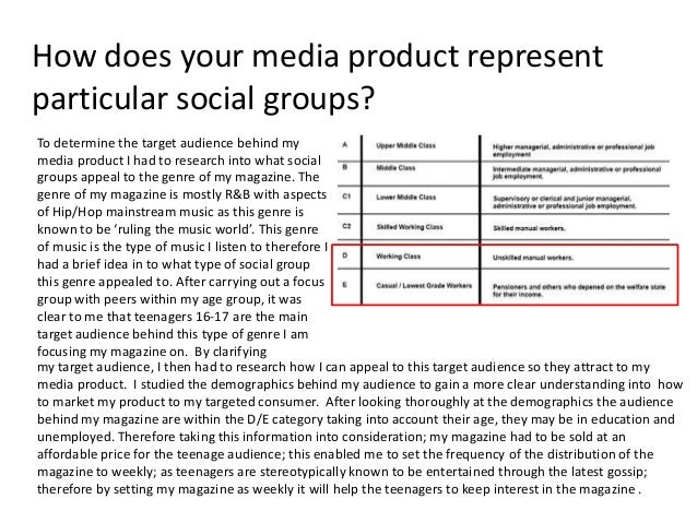 How does your media product representparticular social groups?To determine the target audience behind mymedia product I ha...