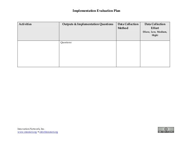 Evaluation Plan Workbook