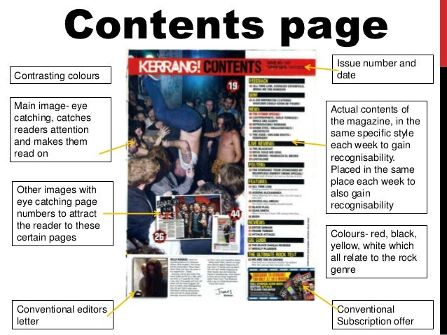 Conventions of a fashion magazine contents page