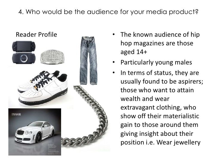 4. Who would be the audience for your media product?<br />The known audience of hip hop magazines are those aged 14+<br />...