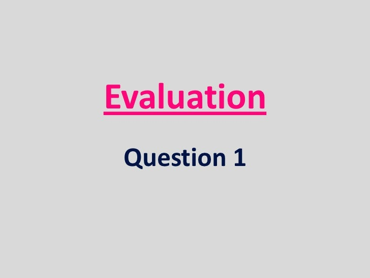 Evaluation Question 1