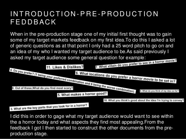 I N T R O D U C T I O N - P R E - P R O D U C T I O N F E D D B A C K When in the pre-production stage one of my initial f...