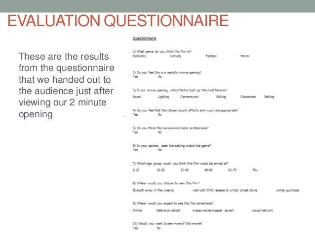EVALUATION QUESTIONNAIREThese are the resultsfrom the questionnairethat we handed out tothe audience just afterviewing our...