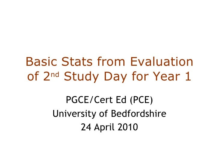 Basic Stats from Evaluation of 2 nd  Study Day for Year 1 PGCE/Cert Ed (PCE) University of Bedfordshire 24 April 2010