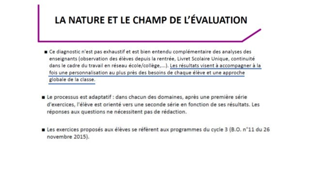Evaluations 6eme