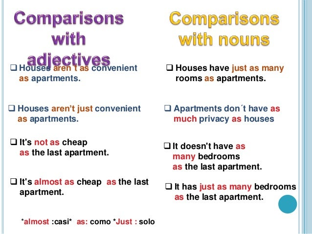 evaluations and comparisons with adjectives and nouns 2