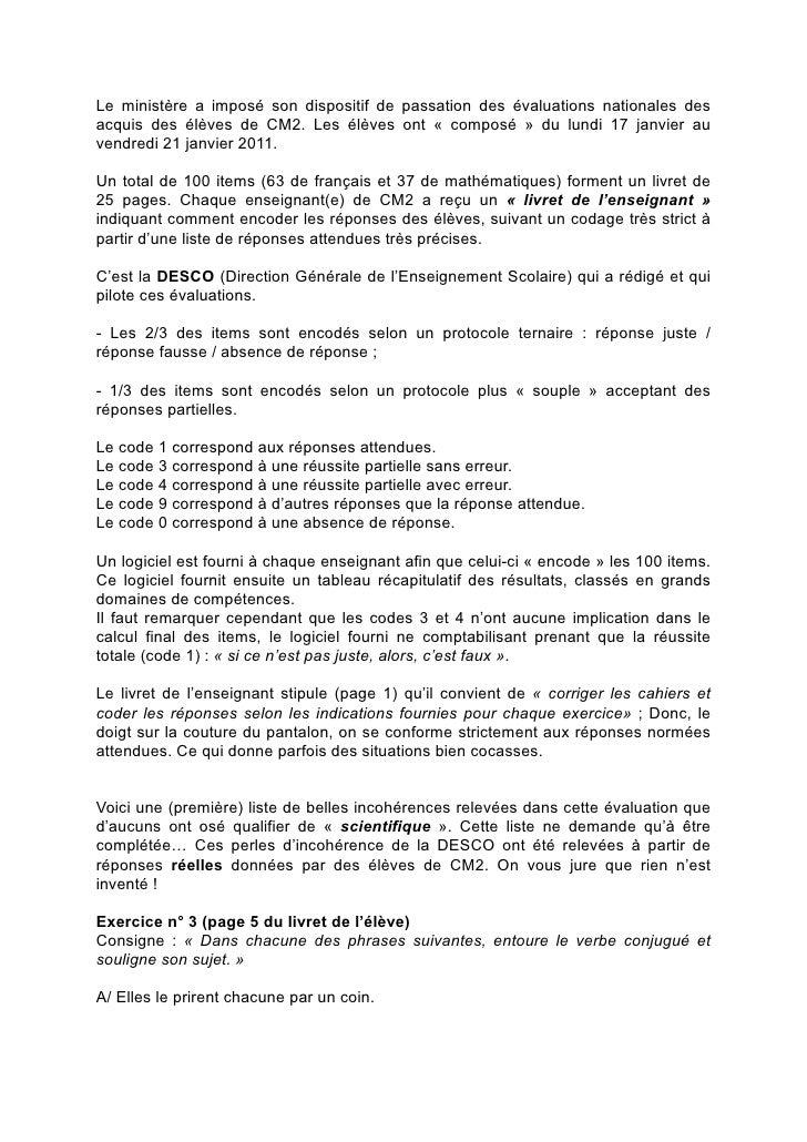 Le ministère a imposé son dispositif de passation des évaluations nationales desacquis des élèves de CM2. Les élèves ont «...