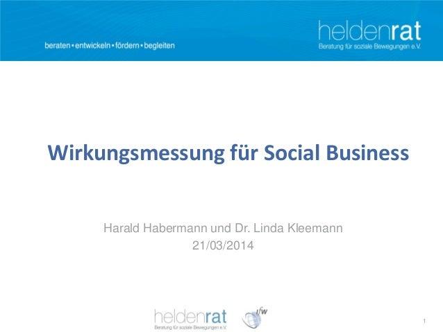 1 Wirkungsmessung für Social Business Harald Habermann und Dr. Linda Kleemann 21/03/2014