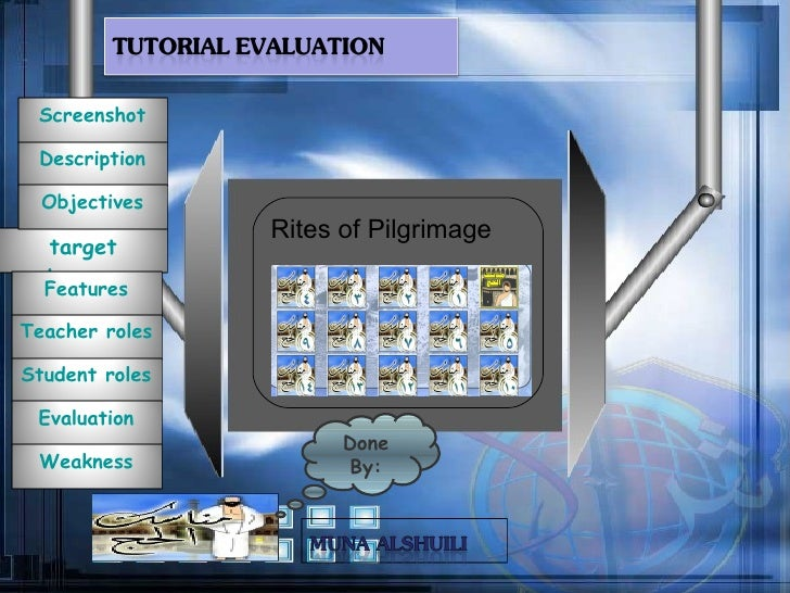 Rites of Pilgrimage Done By: Screenshot Description target  Learner Features Objectives Teacher   roles Student   roles Ev...