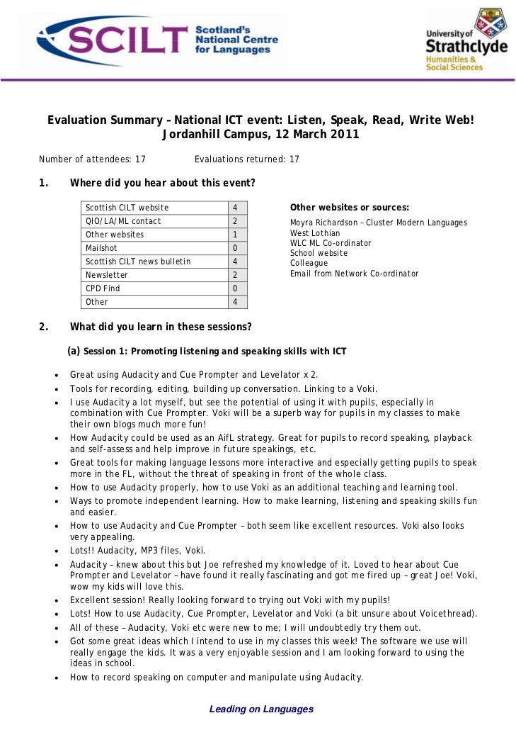 Evaluation Summary – National ICT event: Listen, Speak, Read, Write Web!                   Jordanhill Campus, 12 March 201...