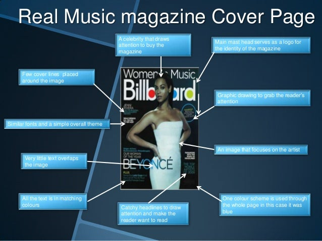 Real Music magazine Cover Page A celebrity that draws attention to buy the magazine  Main mast head serves as a logo for t...