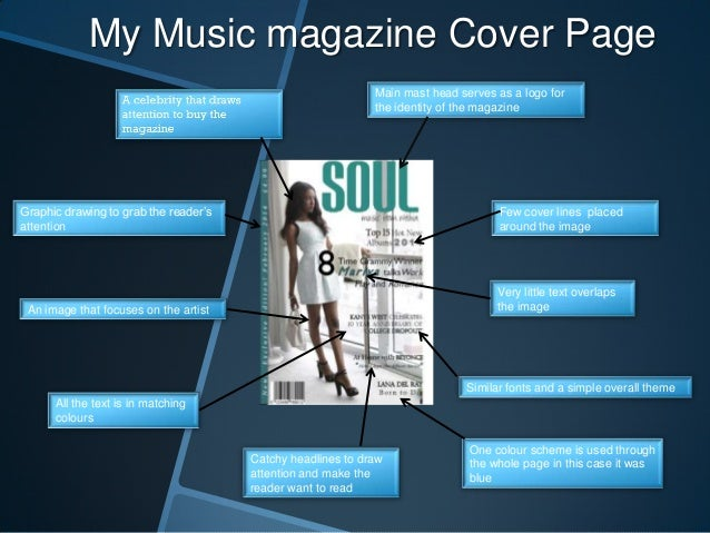 My Music magazine Cover Page Main mast head serves as a logo for the identity of the magazine  Graphic drawing to grab the...
