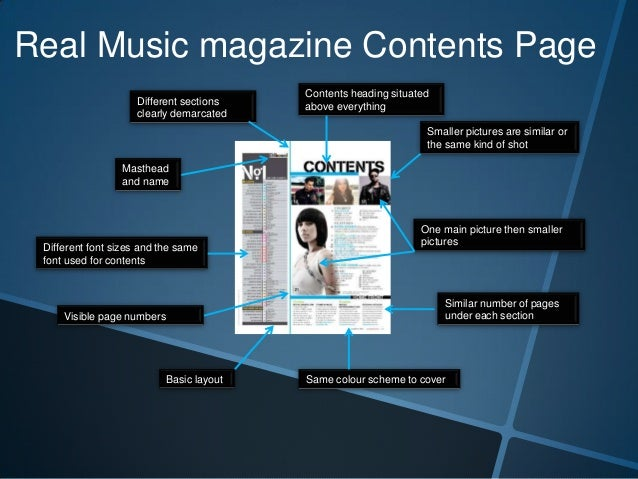 Real Music magazine Contents Page Different sections clearly demarcated  Contents heading situated above everything Smalle...