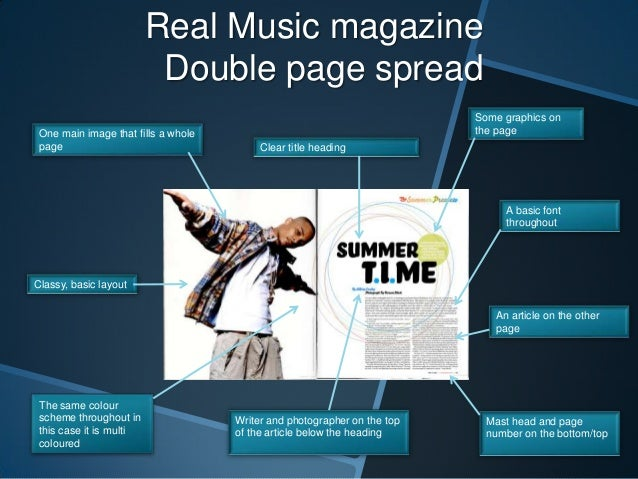 Real Music magazine Double page spread One main image that fills a whole page  Some graphics on the page Clear title headi...