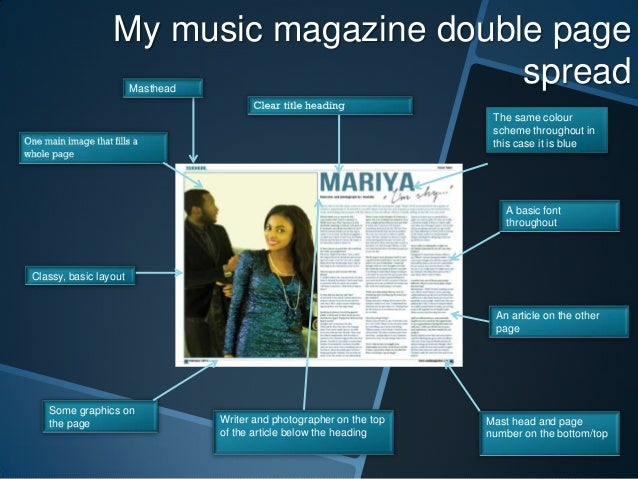 My music magazine double page spread Masthead  The same colour scheme throughout in this case it is blue  A basic font thr...
