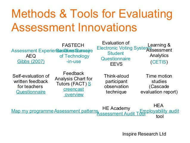 technique and tools of evaluation Below are links to assessment tools and techniques along with specific geoscience examples and resources concept maps - a diagramming technique for assessing how.