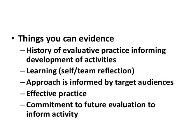 Evaluation training for wellcome trust 15th may