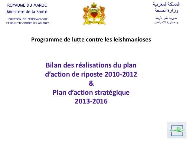 Programme de lutte contre les leishmanioses Bilan des réalisations du plan d'action de riposte 2010-2012 & Plan d'action s...