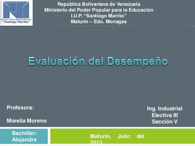 """República Bolivariana de Venezuela Ministerio del Poder Popular para la Educación I.U.P. """"Santiago Mariño"""" Maturín – Edo. ..."""