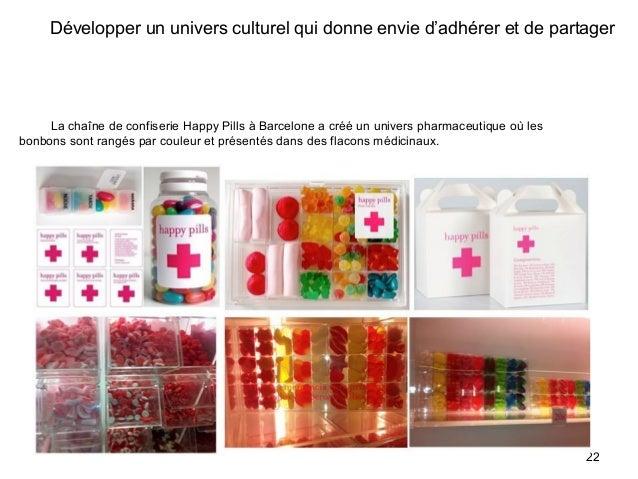 Développer un univers culturel qui donne envie d'adhérer et de partager La chaîne de confiserie Happy Pills à Barcelone a ...