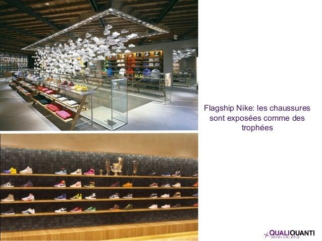 Flagship Nike: les chaussures sont exposées comme des trophées