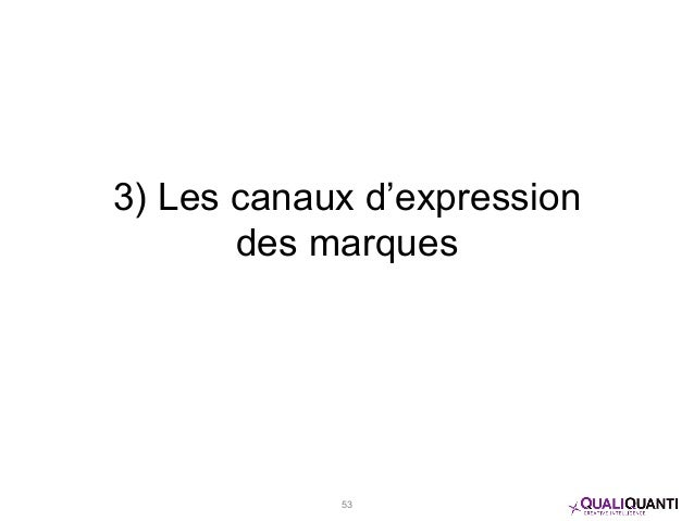 3) Les canaux d'expression des marques 53