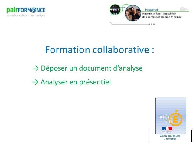 Groupe académiquee-formationFormation collaborative :→ Déposer un document danalyse→ Analyser en présentiel