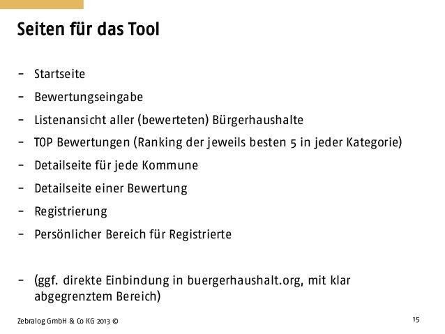 Seiten für das Tool Zebralog GmbH & Co KG 2013 © 15 - Startseite - Bewertungseingabe - Listenansicht aller (bewerteten) Bü...