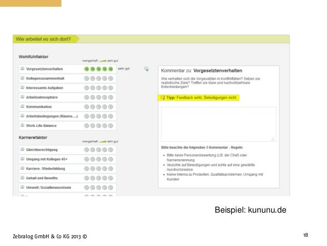 Zebralog GmbH & Co KG 2013 © 18 Beispiel: kununu.de