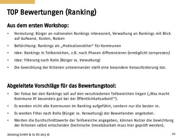 TOP Bewertungen (Ranking) Zebralog GmbH & Co KG 2013 © 20 Aus dem ersten Workshop: • Vermutung: Bürger an nationalen Ranki...