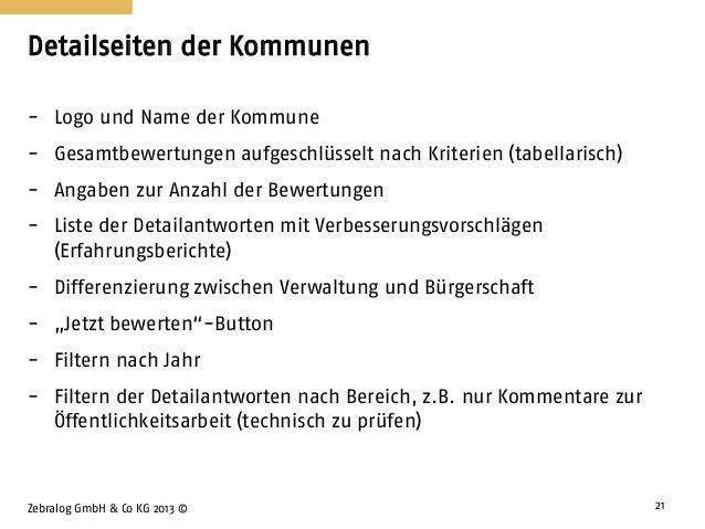 Detailseiten der Kommunen Zebralog GmbH & Co KG 2013 © 21 - Logo und Name der Kommune - Gesamtbewertungen aufgeschlüsselt ...
