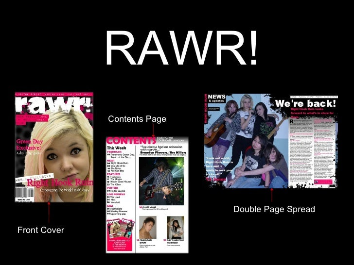 RAWR! Front Cover Contents Page Double Page Spread