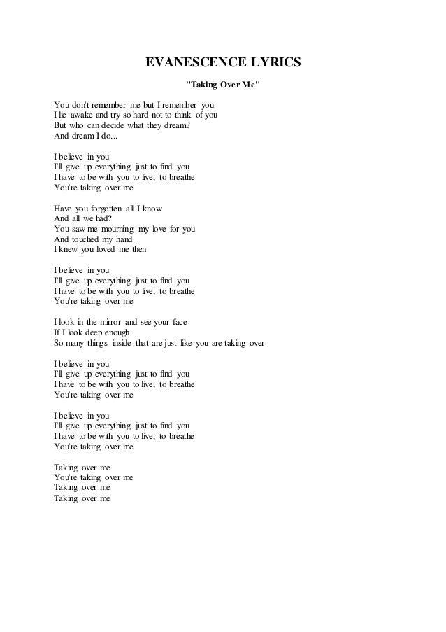 Lyric i believe in you lyrics : Evanescence taking over me
